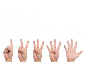 Set of counting hands from 1-5, isolated on white.